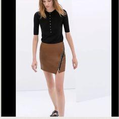 Zara Zara Brown leather skirt with zipper detail. Zara Dresses