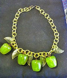 Original Bakelite Granny Smith Green Apples With Celluloid Leaf Chain Necklace