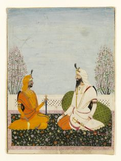 Two notable figures of the Sikh court under the rule of Maharaja Ranjit Singh, ca. 1840, Amritsar, Lahore, Punjab, India
