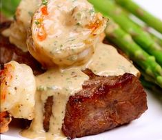 Steak and Creamy Garlic Shrimp. Shrimp In Garlic Sauce, Steak And Shrimp, Surf And Turf Sauce, Steak Potatoes, Potato Dinner, My Best Recipe, Beef Dishes, Shrimp Recipes, Food Inspiration