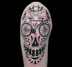 Bicycle Skull Tattoo On Arms Men