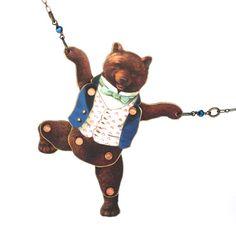 Vest Bear Puppet Necklace  Bear Necklace  by mamaslittlebabies