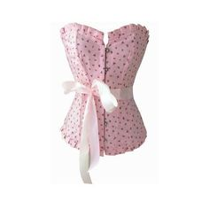 Atomic Pink Flower Overbust Corset (150 BRL) ❤ liked on Polyvore featuring corsets
