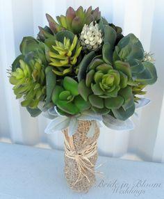 Wedding bouquet artificial succulent by BrideinBloomWeddings, $175.00