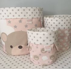 Woodland Nursery Décor-Bear Storage Baskets-Pink Girl Nursery-Fabric Bins-Baby Laundry Basket-Baby S - Diaper Woodland Nursery Decor, Nursery Room Decor, Nursery Themes, Fabric Storage Baskets, Fabric Bins, Fabric Basket, Bear Nursery, Girl Nursery, Diy Bebe
