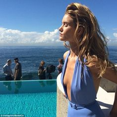 Rosie Huntington-Whiteley shows off her slim pins and hint of sideboob in sexy swimsuits in campaign for Aussie tanning brand ModelCo