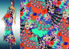 Romantic floral - Estampa colorida por Ká Martins para Natan Tecidos