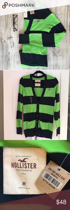 Hollister Rugby Stripe Cardigan Size M NWT A nod to the prepster with this fun navy/green Rugby stripe cardigan in size Medium by Hollister. New with tags. Hollister Sweaters Cardigans