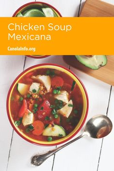 A healthy chicken soup with your favorite Mexican flavors. Entree Recipes, Fall Recipes, Mexican Food Recipes, Healthy Recipes, Baking Recipes, Diabetes, Healthy Comfort Food, Comfort Foods, Healthy Chicken Soup