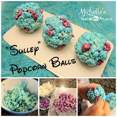 Monsters University Inspired Sulley Popcorn Balls - Michelle's Party Plan-It - - Monsters Sulley Popcorn Balls recipe and step by step tutorial by Michelle's Party Plan-It. Monster University Birthday, Monsters Inc University, Monster Inc Party, Monster Birthday Parties, First Birthday Parties, 2nd Birthday, Birthday Ideas, 1st Birthdays, Little Monster Party