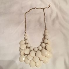 Gold and cream necklace Gold chain. Cream beaded necklace. Been worn once. Great condition. Multiple links Jewelry Necklaces