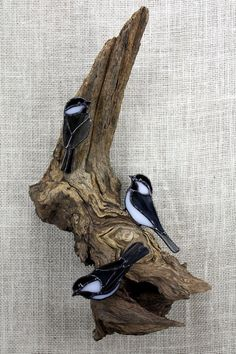 Black Capped Chickadee Birds Stained Glass Wall Sculpture Life size trio of Stained Glass Black Capped Chickadee on real weathered wood. Birds are approx. 4.25-5 Overall size is approx. 17 tall x 10 wide x 4.5 deep Priority Mail shipping in the USA - Delivery within 2 to 3 business days in most cases. All shipments fully Insured. Sending a gift? I will include an invoice in your package unless you request that I exclude it. A gift notecard with your message can be included at no extra co...