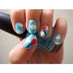 red balloon and clouds nail art