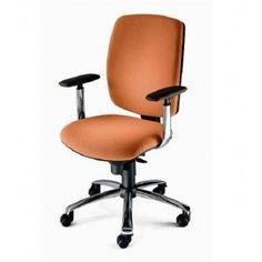 Silla giratoria para oficina de segunda mano tapizada en tela roja regulable en asiento respaldo y brazos Regulacin de la altur  Sillas