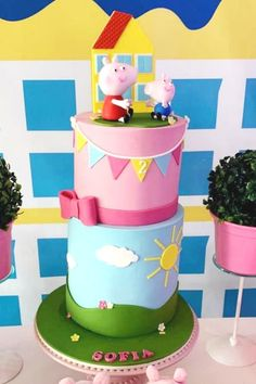 Violeta Glace 's Birthday / Peppa Pig - Photo Gallery at Catch My Party Peppa Pig Birthday Cake, Birthday Cake Girls, Birthday Parties, Bridal Shower Cakes, Baby Shower Cakes, Peppa Pig Balloons, Pig Party, Rustic Cake, Holiday Cakes