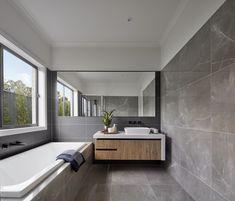 Bathroom // Explore the Designer by Metricon Berkshire, on display at Kialla, VIC. New Bathroom Designs, Contemporary Bathroom Designs, New Home Designs, Bathroom Interior Design, Dream Home Design, House Design, Modern Laundry Rooms, Bathroom Renos, Bathroom Styling