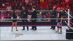 AJ makes the Raw main event — CM Punk and Alberto Del Rio vs. John Cena and Sheamus: September 17, 2012  Cena wanted a rematch with Punk. Del Rio wanted a rematch — the 174th — with Sheamus. A little predictable. Paul Heyman was priceless, power walking after AJ as she skipped away.