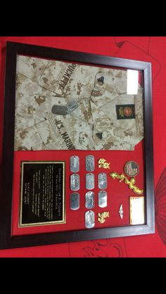 I like the cammies in the frame/shadow box too Military Retirement, Retirement Gifts, Retirement Ideas, Diy Shadow Box, Shadow Box Frames, Military Shadow Box, Military Army, Christmas Shadow Boxes, Christmas Ideas