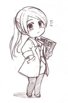 A little clean sketch from chibi pencil. when i have time, i& try to lineart it with some adjustments. thanks a lot for all the favorites ^^ Art Drawings Sketches Simple, Anime Drawings Sketches, Girly Drawings, Anime Sketch, Kawaii Drawings, Manga Drawing, Cartoon Drawings, Manga Art, Anime Art