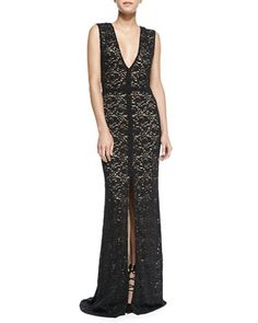 Mia Front-Slit Lace Gown by Alice + Olivia at Bergdorf Goodman.