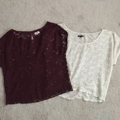 Lace top bundle Gorgeous lace tops (require layering) from American Eagle/Aerie. Burgundy is from Aerie and the cream is from AEO. Some pilling from wear, but no snags. Super cute over swim tops or a contrasting color tank top. Size medium, but they are a relaxed fit top. American Eagle Outfitters Tops