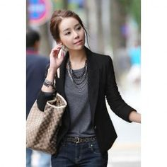 $10.55 Slimming Lapel Neck Solid Color Long Sleeve Plus Size Business Blazer For Women