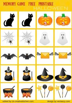 Improve your children memory with this familiar, colorful card game. Simply print, cut, and lay all cards face down, then find the matching pairs. Theme Halloween, Halloween Crafts For Kids, Halloween Pictures, Halloween Games, Diy Halloween Costumes, Fall Halloween, Costume Ideas, Halloween Worksheets, Halloween Coloring Pages