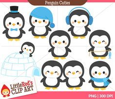 Penguin Cuties Combo Set  Color Clip Art and by LittleRedsClipArt, $4.50