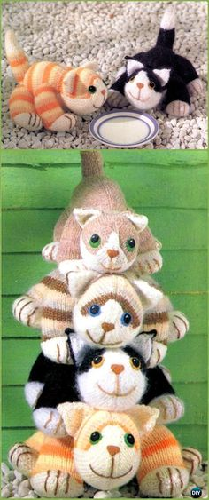 Amigurumi Stacking Cheeky Cats Softies Toy Free Knitting Pattern - Knit Cat Toy Softies Patterns