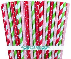Outside the Box Papers Red Pink and Lime Green Polka Dot and Striped Paper Straws Strawberry Shortcake Birthday Party Supply-Baby Shower Picnic 7.75 Inches Pack of 100, Red, Pink, Lime Green Outside the Box Papers