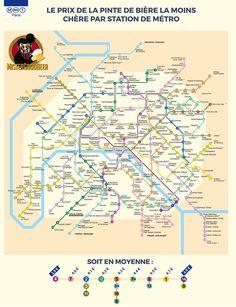 Le plan du métro des #pintes les moins chères #Paris #beer - Les Petits Frenchies