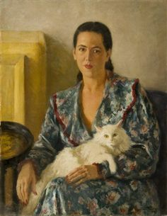 Leonid Frechkopf (Russian, Lady with Cat Amor Animal, Photo Chat, Art Et Illustration, Cat Photography, Cat People, White Cats, Vintage Cat, Russian Art, Animal Paintings