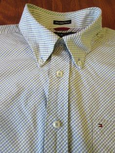 TOMMY HILFIGER Men's 80's 2 Ply Fabric Regular Collar Shirt - Size L