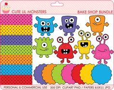 monsters clipart aliens clip art digital - BUY 2 GET 2 FREE - Cute Lil Monsters Bake Shop Bundle