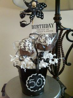 sweet little 50th birthday cupcake pops....getting my idea for James' uncle's party....