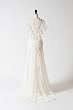 Delphine Manivet  'HONORIN' Gown     OPEN BACK LONG DRESS IN COTTON TULLE WITH PLEATED LACE ON THE SHOULDERS.