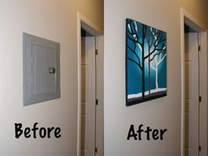 Google Image Result for http://3.bp.blogspot.com/-Zsa_8iz0BGE/TxtUlceuvMI/AAAAAAAAAVQ/FyGGzINhIRQ/s1600/Canvas.jpg Electric Box, Electric Panel Cover, Breaker Box, Electrical Switches, Garage Makeover, Covered Boxes, Basement Remodeling, Basement Plans, Diy Home Improvement