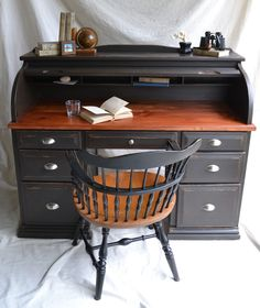 Desk makeover. Pinned|Haus Artisans: Black Roll Top Desk and Captain's Chair SOLD