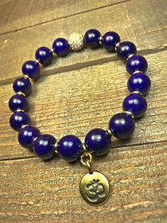 Ohm bracelet gemstone bracelet beaded bracelet by SJIJewelry