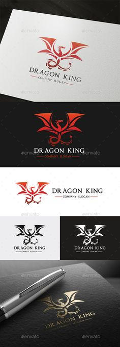 Dragon King Logo - Animals Logo Templates