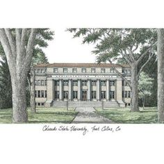 Colorado State University Campus Images Lithograph Print, Size: 14 inch x 10 inch