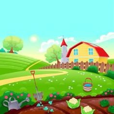 Vector cartoon illustration farm, Houses, Meadow, Vegetable Plot PNG and Vector Farm Cartoon, Cartoon House, Farm Animal Party, Forest Mural, Picture Composition, School Murals, The Barnyard, Cartoon Background, Farm Yard
