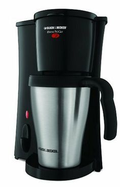 Black & Decker DCM18S Brew 'n Go Personal Coffeemaker with Travel Mug by Black & Decker. $17.00. Measures 9-3/4 by 7 by 6 inches, 1-year warranty. Personal coffeemaker brews directly into 15-ounce travel mug. Stainless-steel mug tapered to fit most vehicle cup holders. Auto shut-off; dishwasher-safe mug, mug lid, filter, and filter basket. Permanent filter eliminates need for disposable paper filters. Amazon.com                Great for commuters, office profess...
