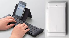 This Collapsable Wireless Keyboard Is as Pocketable As Your SmartPhone - The sliding mechanism splits the keyboard in the middle so both halves can stack atop each other, while a folding cover doubles as a stand for smartphones in portrait or landscape orientations.