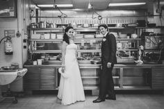 Bride and Groom at hotel kitchen, she's a Chef!