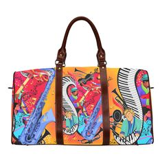 Smooth Jazz Colorful Art Print Waterproof Travel Bag/Large (Model 1639).Colorful smooth Jazz Music Sax Piano design