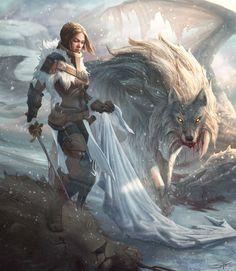 "Badass Illustration of a ""Lady Stark"" by Stuart Harrington"