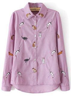 Cat Embroidered Button-up Shirt - OASAP.com