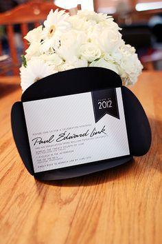 graduation black and white party invitations