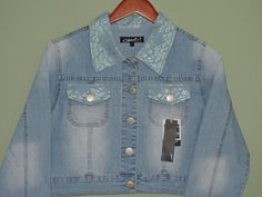 Fashionable Denim Lt.Blue Lace Stretch Jacket Sz 2XL NWT #OriginalJeanBrand #Jacket